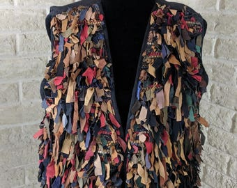 Boho Leather Boho Vest Shaggy Vest Ladies Leather Vest Fringe Vest Cowgirl Vest Western Vest Women Leather Vest