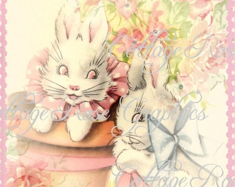 Vintage EASTER bunny Large digital download ECS buy 3 get one free Pink ROSES romantic cottage single image rdtt sfvteam