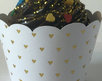 Gold Heart Cupcake Wrappers Heart Muffin Wrapper Cupcake Wrappers Wedding Cupcake Sleeves Birthday Bridal Shower Wedding Shower Embossed