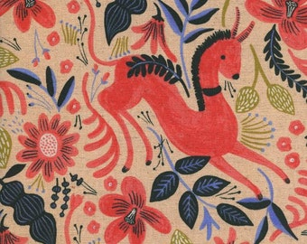 Folk Horse in Coral from the Les Fleurs fabric collection by Anna Bond of Rifle Paper & co for cotton and steel
