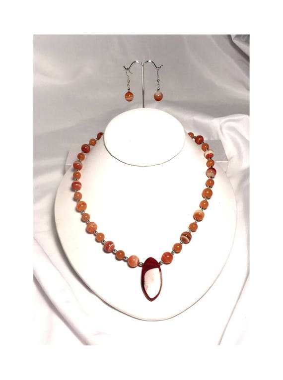 Striped Orange Agate and Jade Pendant Necklace and Dangle Earring Set