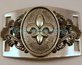 Large Silver Fleur De Lis Bracelet Connector.. cuff bracelet connector for beaded watch bands