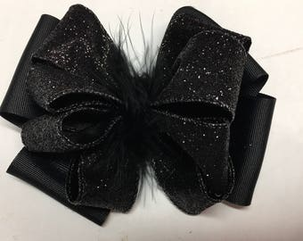 Black Sparkle Stacked Boutique Hair Bow with Feathers Toddler