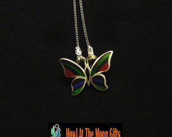 Butterfly Medallion Cloissone Pendant Chain Necklace