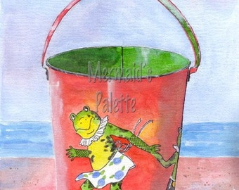 Vintage Beach  Sand Pail watercolor painting  with dancing frog - fine art  print of original watercolor