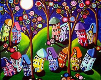 Houses Trees Blossoms Funky Fun Whimsical  Original Folk Art Painting