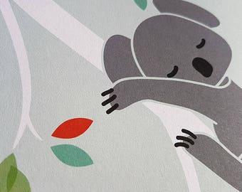 Baby Nursery 2 Prints Set Koala by LittleLion Studio. Unframed. 8x10 inches. Perfect baby shower gift.