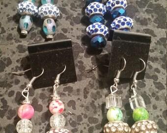 Rhinestone Big Hole Bead Earrings - Pick Your Color