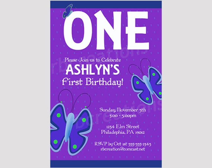 Butterfly Birthday Invitation, Butterfly Party, Butterfly Party Decorations, Butterfly Invitation, Purple Invitation - Digital Printable