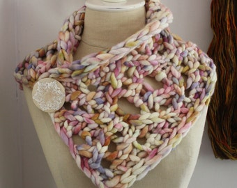 Knitting Pattern / Neckwarmer Cowl Chunky Super Bulky Knit Lace / Maeve / PDF Digital Delivery
