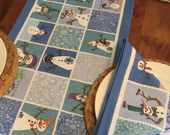 Christmas table runner, Blue table runner, Snowman, Christmas Home ware, Holiday linens by MollyMac, Gift for couple