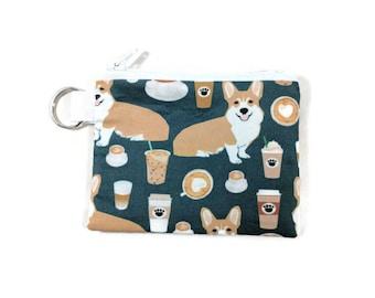 Corgis love Coffee Coin Purse, Mini Zipper Pouch, Coin Pouch, Earbud Holder, change Purse, bridesmaid gift, coin pouch keychain