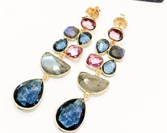 Tourmaline, Iolite and Labradorite Statement Earrings