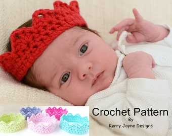 CHRISTMAS CROCHET CROWN Pattern Babies and Adults, Newborn Crown Pattern, Photo Prop Crown, Prince / Princess Crown 8 Sizes crown Pattern Uk