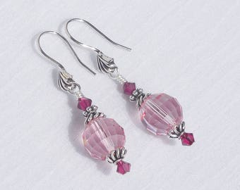 Swarovski pink crystal and sterling silver earrings