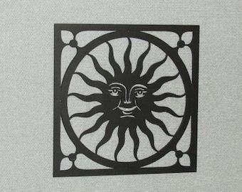 Large Happy Sun Face Wall Decor Laser Cut Wood Art