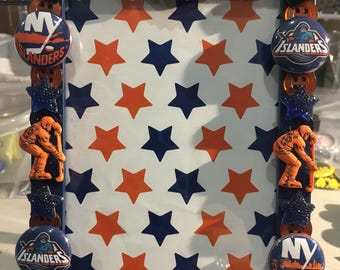 New York Islanders button picture frame, displays 4 x 6 photo