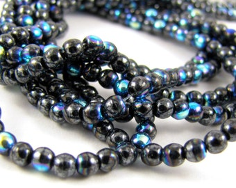 Hematite AB 3mm Smooth Round Czech Glass  Beads 100pc #1647