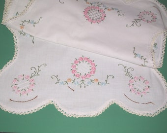 "Vintage Embroidered Dresser Scarf Runner Crocheted Lace Edge Pink Blue Flowers Bedroom Linens 42"" long"