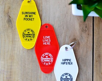 Set of 3 Vintage Keychains/ Sunshine in my Pocket/ Love Lives Here/ Hippie Hipster/ Unique gift/ Fun gift/ Home