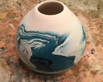Vintage Nemadji Indian River Ceramic Vessel with Teal Swirls