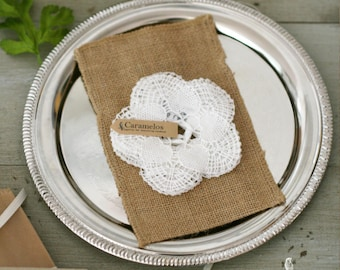 """White Crochet Cotton Doilies 4"""" - Boho style/wedding decor/favors/DIY bunting/photo prop/gift packaging"""