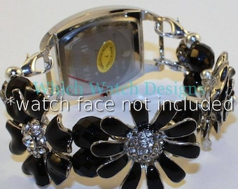 Black Floral...Black Enameled Flower and Czech Glass Interchangeable Beaded Watch Band, Petite