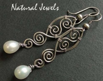 Silver 925/1000 earrings aged spiral Pearl drops