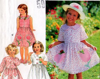 Uncut Girls' FULL SKIRT DRESS Pattern Simplicity #9523 Size 5-6-6X Sunday Spring Summer Easter Fashion 1995 Sewing