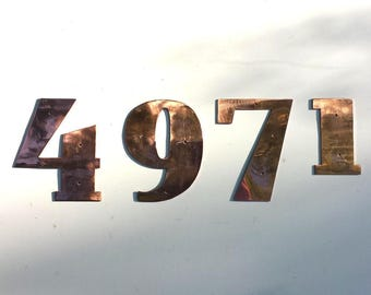 """Art Deco copper house numbers -  75mm/3"""" high cutout. handmade in polished or hammered finish g"""