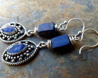 Lapis & Silver Earrings/Lapis Nuggets/Blue Sillimanite in Granulated Silver/Silver Shields . Rustic Southwest Boho Tribal Style Jewelry