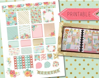 Aqua, Pink, Mint, Gold Floral Weekly Printable Stickers for Erin Condren Life Planner/Happy Planner INSTANT DOWNLOAD