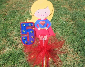 Super Girl Large Centerpiece or Cake Topper with age number