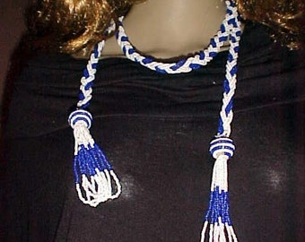 """Vintage FLAPPER Necklace GLASS Bead Rope 48"""" LG Quality Thick For Creative Lady Many Ways to Wear"""