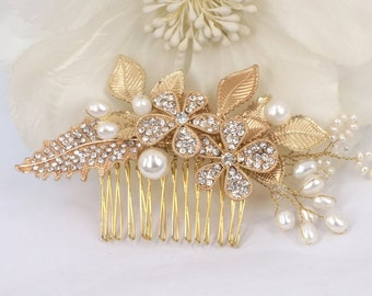 Evita - Freshwater Pearl and Rhinestone Bridal Comb