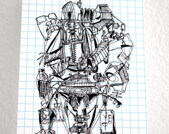 ROBO JUNK | industrial alien drawing in black and white handprinted on an index card, a Gocco print with white mat by Kathryn DiLego
