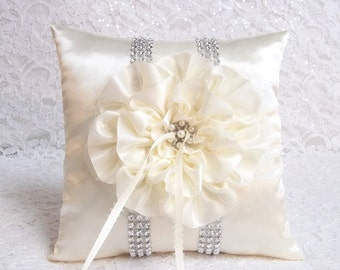 Ivory Satin Ring Bearer Pillow / Ivory Flower and Trim / Rhinestone Mesh Trim / Wedding Pillow / Ring Pillow / Bling Pillow