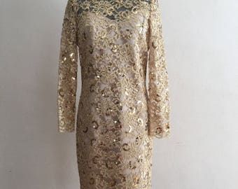 1960 sequined metalic gold dress