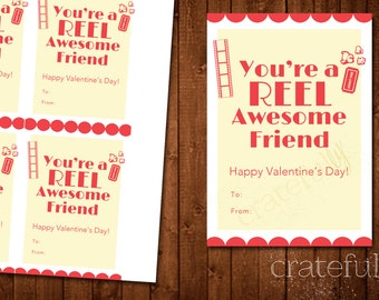 Movie Valentine Card Printable- You're A Reel Awesome Friend- School Valentine- DIY Digital Download