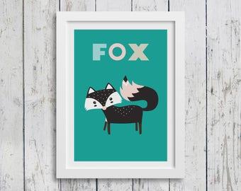 Little fox A3 print