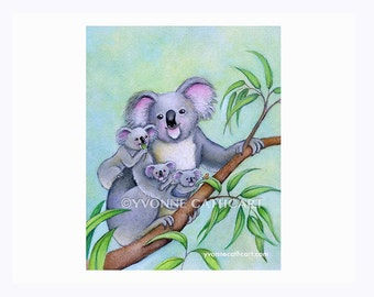 Animal art print, Koala print, Koala bear, animal painting, koala nursery print, baby animal print, nursery art print, wildlife art painting