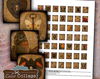 Lock and Key Digital Collage Sheet Scrabble Tile Size Images for Scrabble Pendants, Decoupage, Wood Tiles, Game Tiles, Digital Images