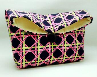 Foldover clutch, Fold over bag, clutch purse, evening clutch, wedding purse, bridesmaid gifts - Checks (Ref. FC42)