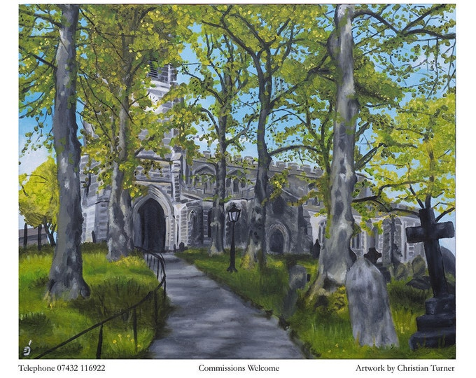 Sandbach Church - Limited Edition Giclee print of painting by Christian Turner