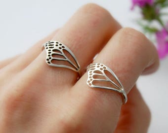 Monarch wing ring sterling silver butterfly wing jewelry