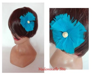 turquoise feather hair clip, feather fascinator, fascinator wedding hair pin woman Hat plume