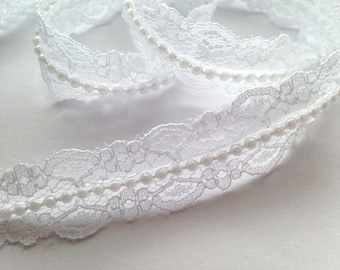 1 inch wide Vintage Style Lace Pearl Ribbon Trim white selling by the yard