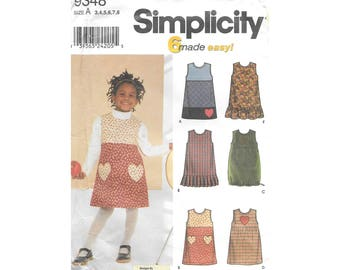 Toddler Girls Jumper Dress 3 to 8 Sewing Pattern Simplicity 9348