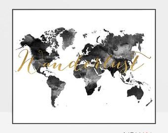 Large World Map, World Map Wall Art, World map Art, Wanderlust print, Travel map, black and white map, ArtPrintsVicky