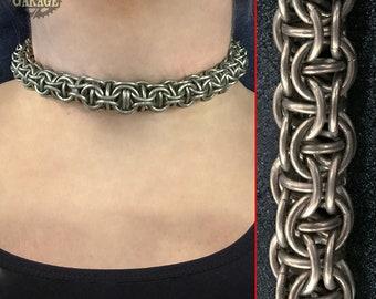 TITANIUM Captive Inverted Round Torque Chainmaille Collar - Choker